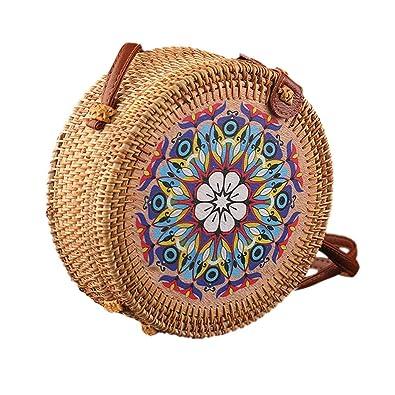 Circle Bucket Handwoven Bali Round Retro Rattan Straw Beach Bag Crossbody US