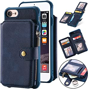 Kudex iPhone 8 Wallet Case,iPhone 7 Case,iPhone 6 Case, Luxury Leather Shockproof Full Protective Credit Card Holder Slot Zipper Kickstand Stand Slim Purse Case Cover for iPhone 8/7/6 4.7'' (Blue)