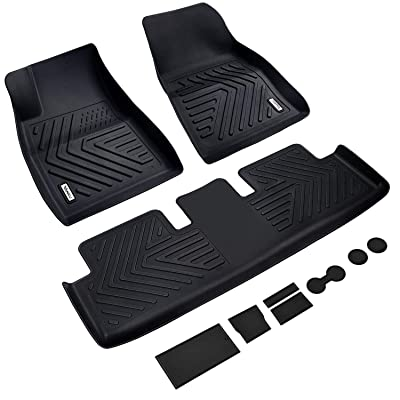 Vanku Complete Set Floor Mats for Tesla Model 3 2020, 2020, 2020, 2020 with Cup and Center Console Liner Accessories Black: Automotive