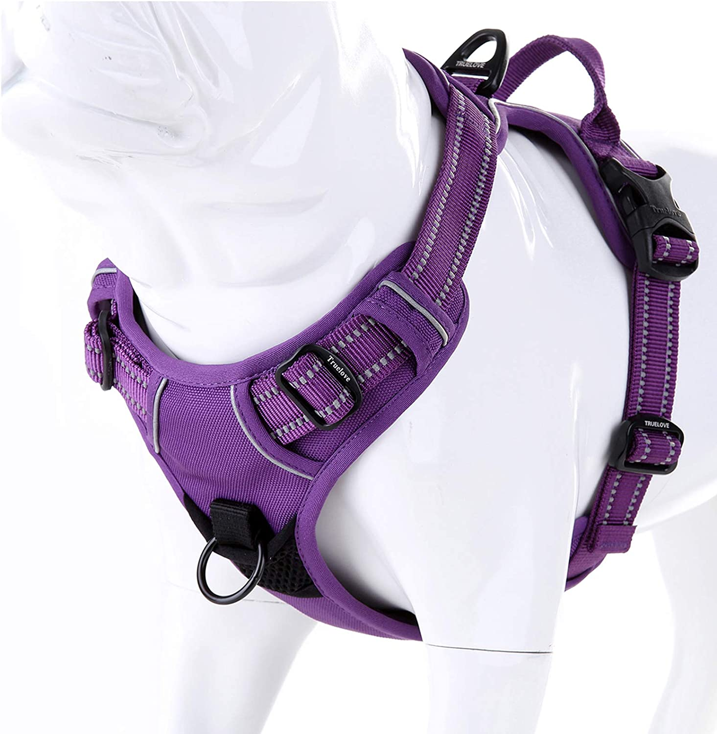 juxzh-Truelove-Soft-Front-Dog-Harness-.Best-Reflective-No-Pull-Harness-with-Handle-and-2-Leash-Attachments