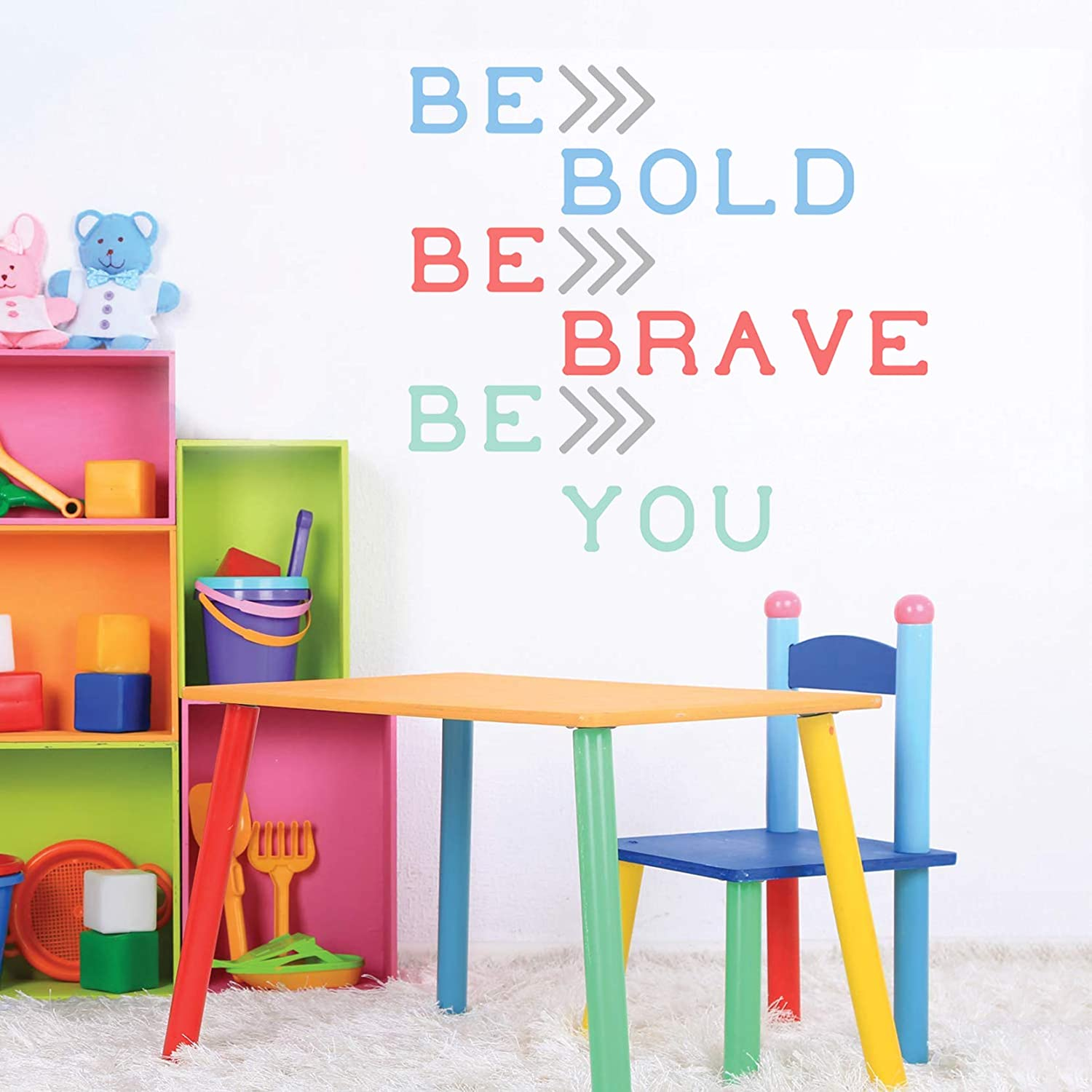 Be Bold Be Brave Be You, Inspirational Quote, Peel and Stick Wall Decals, Colorful Lettering Wall Decals Inspirational Quotes Wall Sticker for Classroom Nursery Kids Room Decor