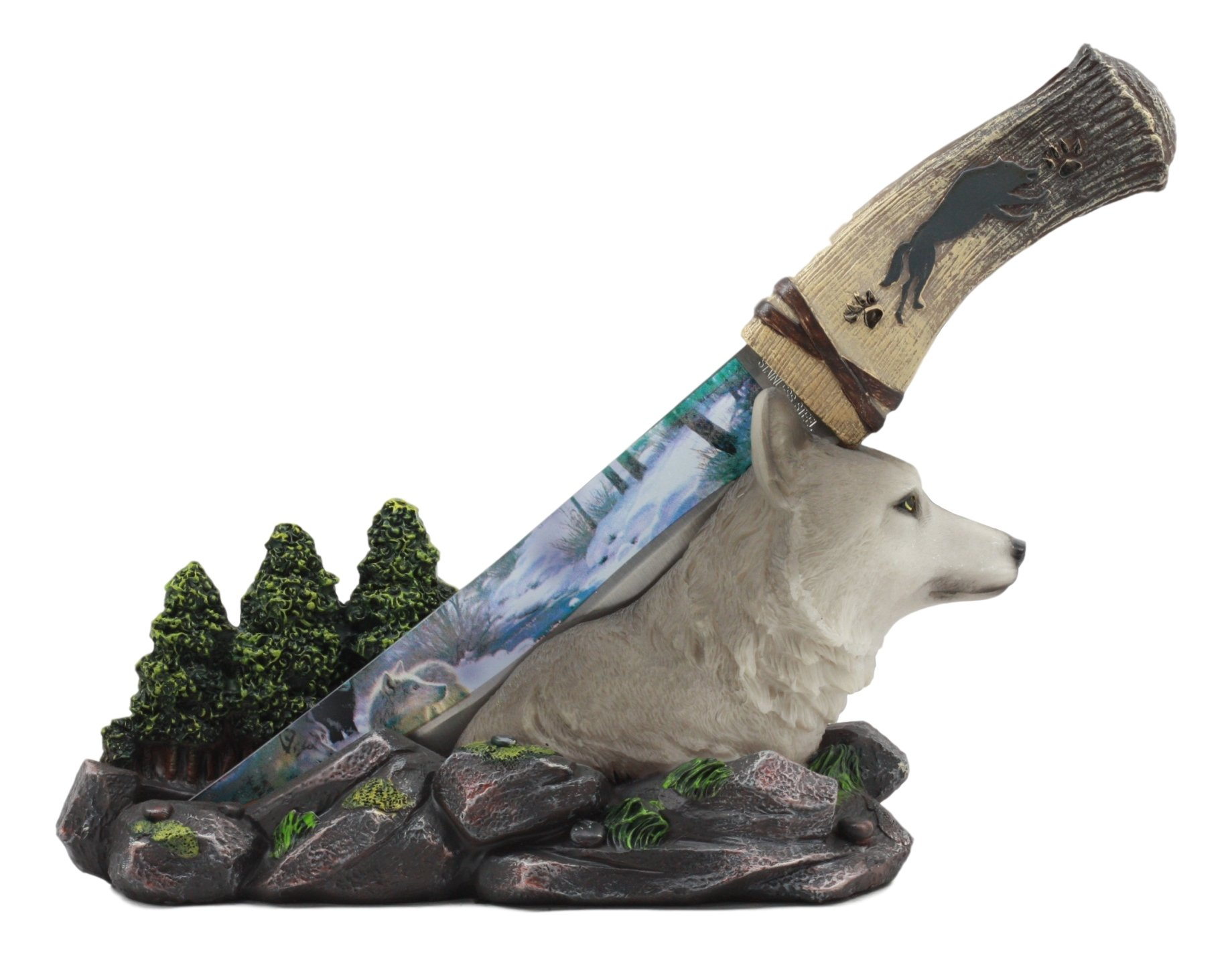 Ebros Animal Spirit Alpha Gray Wolf In Mountain Forest Display Centerpiece Statue With Stainless Steel Blade Dagger Letter Opener Sculpture Figurine Great for Hunters and Outdoorsmen