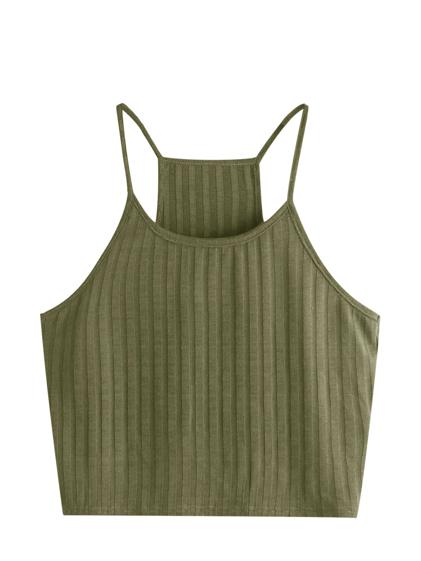 SheIn Women's Summer Basic Sexy Strappy Sleeveless Racerback Crop Top Small Army Green