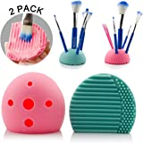 IBEET Cleaning Makeup Brush Egg Cleaner Holder Silicone Washing Brush Scrubber Board Cosmetic Clean Tools, 2 PCS