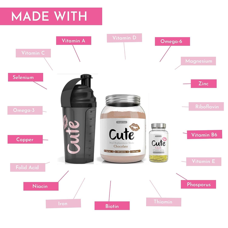 Cute Nutrition Batido de Reemplazo de Comidas de Chocolate con Coctelera y Cápsulas CLA Control de la Pérdida de Peso Bebida en Polvo Para Mujeres