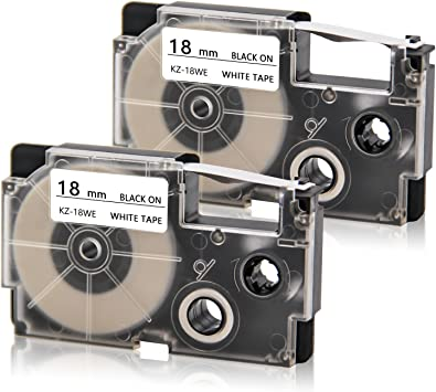 "GENUINE Casio XR-18WE2S  3//4/"" Black on White Tape 2-Pack XR18WE2S"