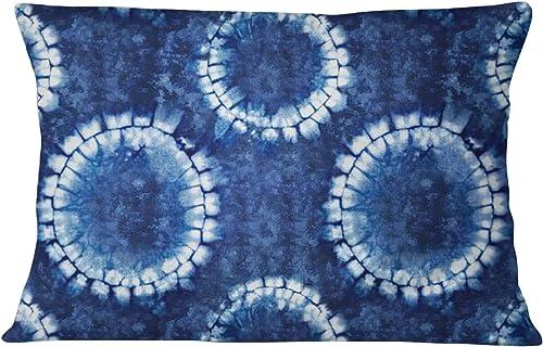 S4Sassy Shibori Print Cotton Poplin Indigo Blue 2 Pcs Decorative Rectangle Pillow Sham-20 x 28 Inches