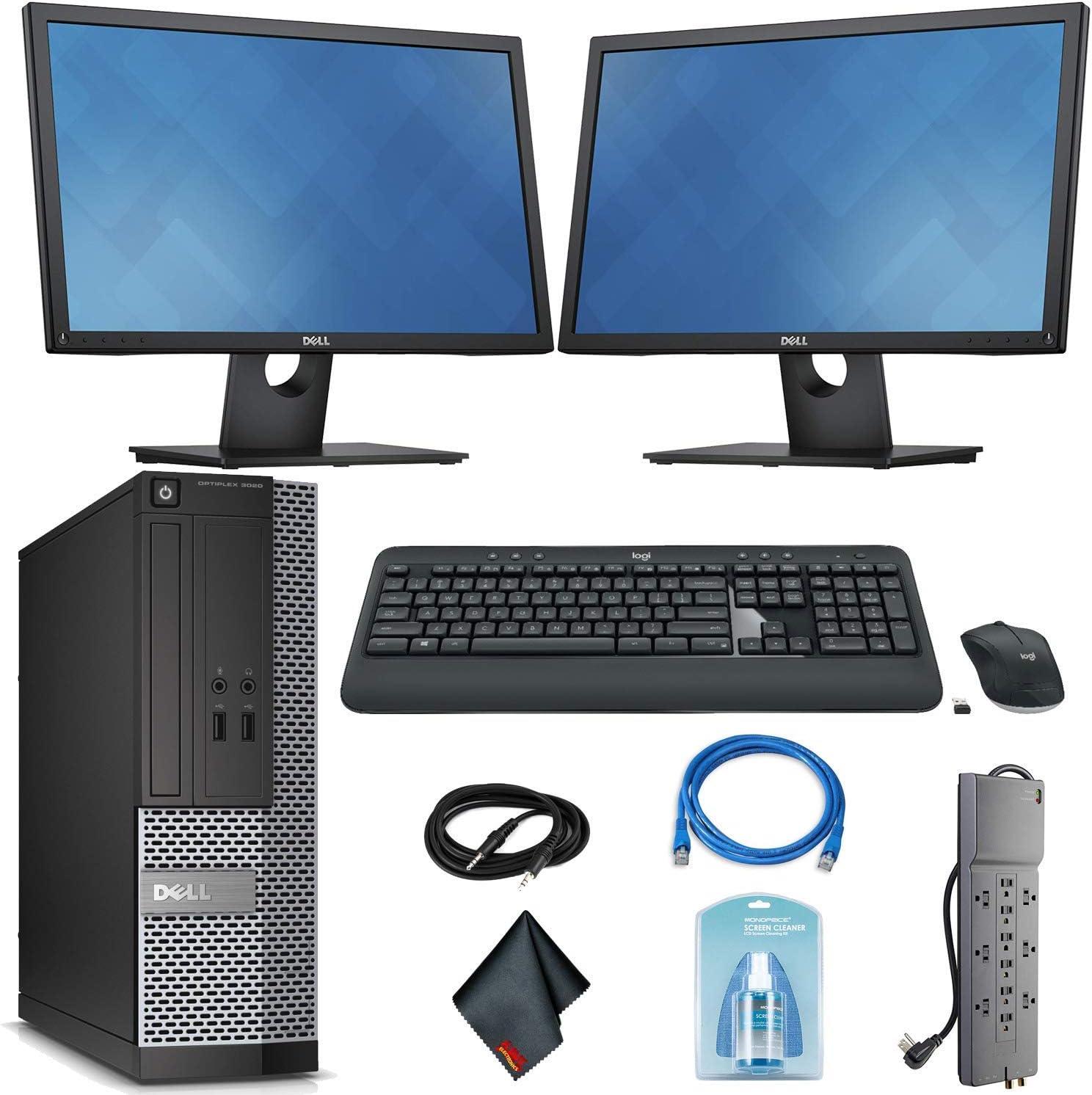 Dell OptiPlex 3020 Desktop Computer - Intel Core i5 i5-4590 3.30 GHz + Wireless Keyboard & Mouse + (2) Dual 22 Inch Monitors (Renewed)