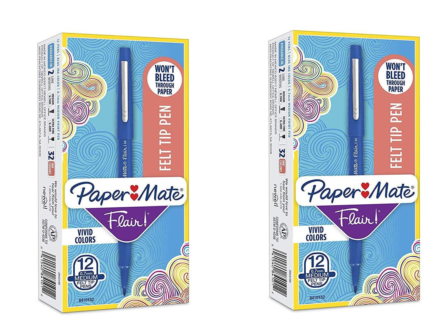 Flair Felt Tip Pens, Medium Point (0.7mm), Blue, 12 Count by Paper Mate (Image #1)