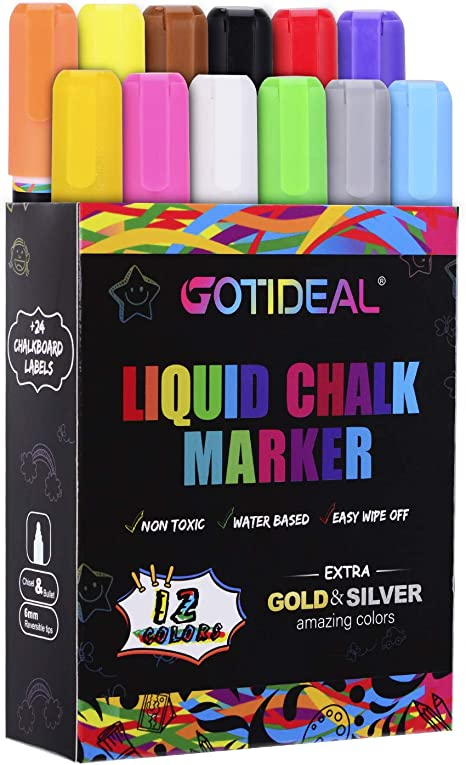 Amazon Com Gotideal Liquid Chalk Markers 12 Colors Premium Window Chalkboard Neon Pens Including 2 Metallic Colors Painting And Drawing For Kids And Adults Bistro Restaurant Wet Erase Reversible Tip