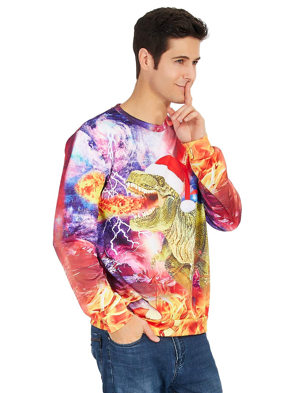 RAISEVERN Unisex Funny Dragon Print Ugly Christmas Sweater Crewneck Sweatshirt Long Sleeved XXL Dinosaur Green