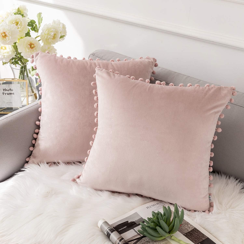 Ashler Throw Pillow Cases with Soft Pom Poms Velvet Plush Vibrant Elegant  Cushion Covers, Pack of 12, Light Pink 112 x 112 inches 12 x 12 cm