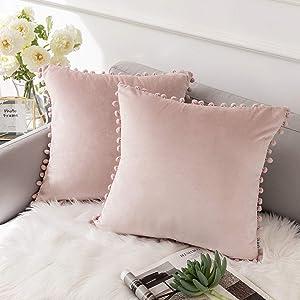 Ashler Throw Pillow Cases with Soft Pom Poms Velvet Plush Vibrant Elegant Cushion Covers, Pack of 2, Light Pink 22 x 22 inches 55 x 55 cm
