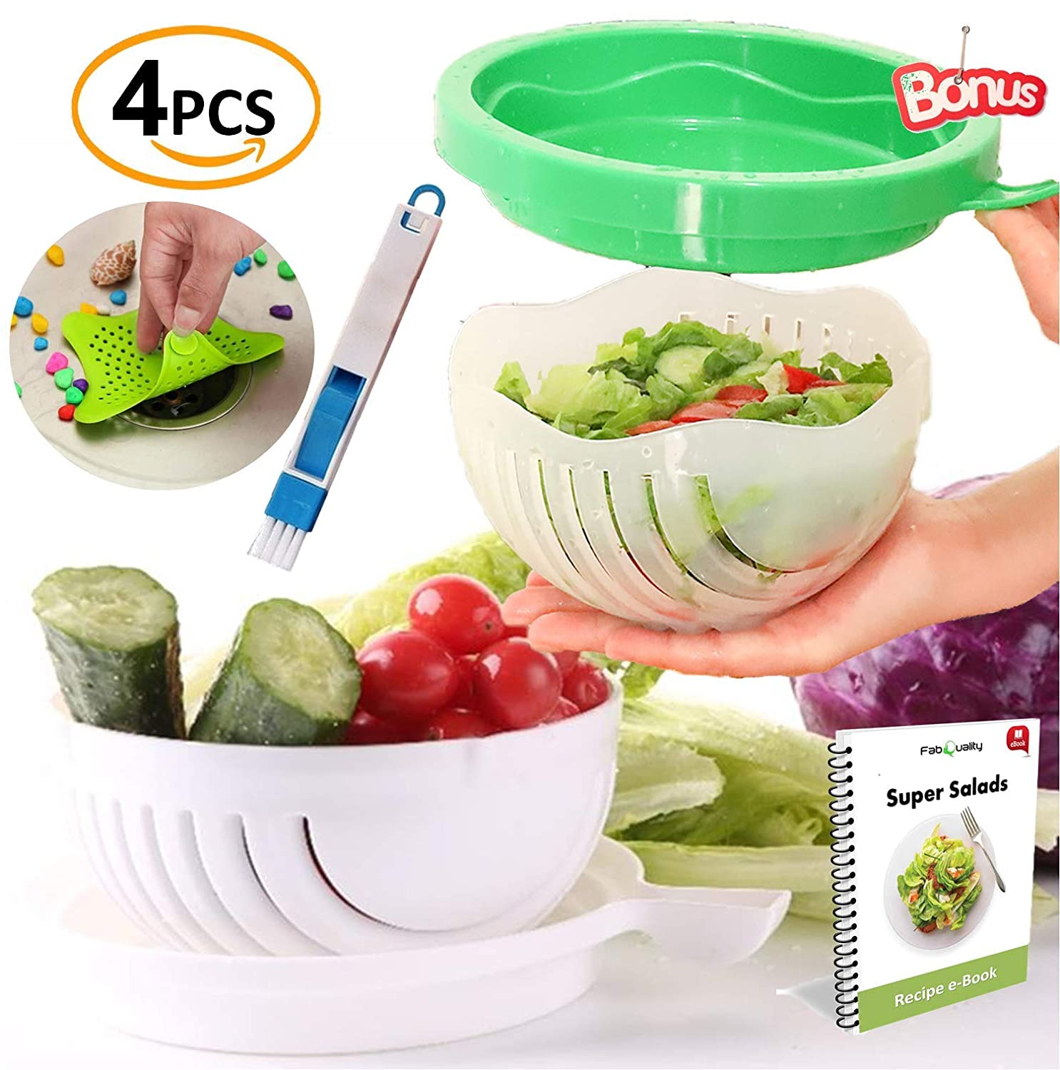 SPECIAL OFFER Premium 2x Salad Cutter Bowl, Plus 2x BONUS + eBook! - Vegetable Cutter Bowl - Make Your Salad in 60 Seconds. Fast Fresh Salad Slicer Salad Chopper FabQuality SYNCHKG119337