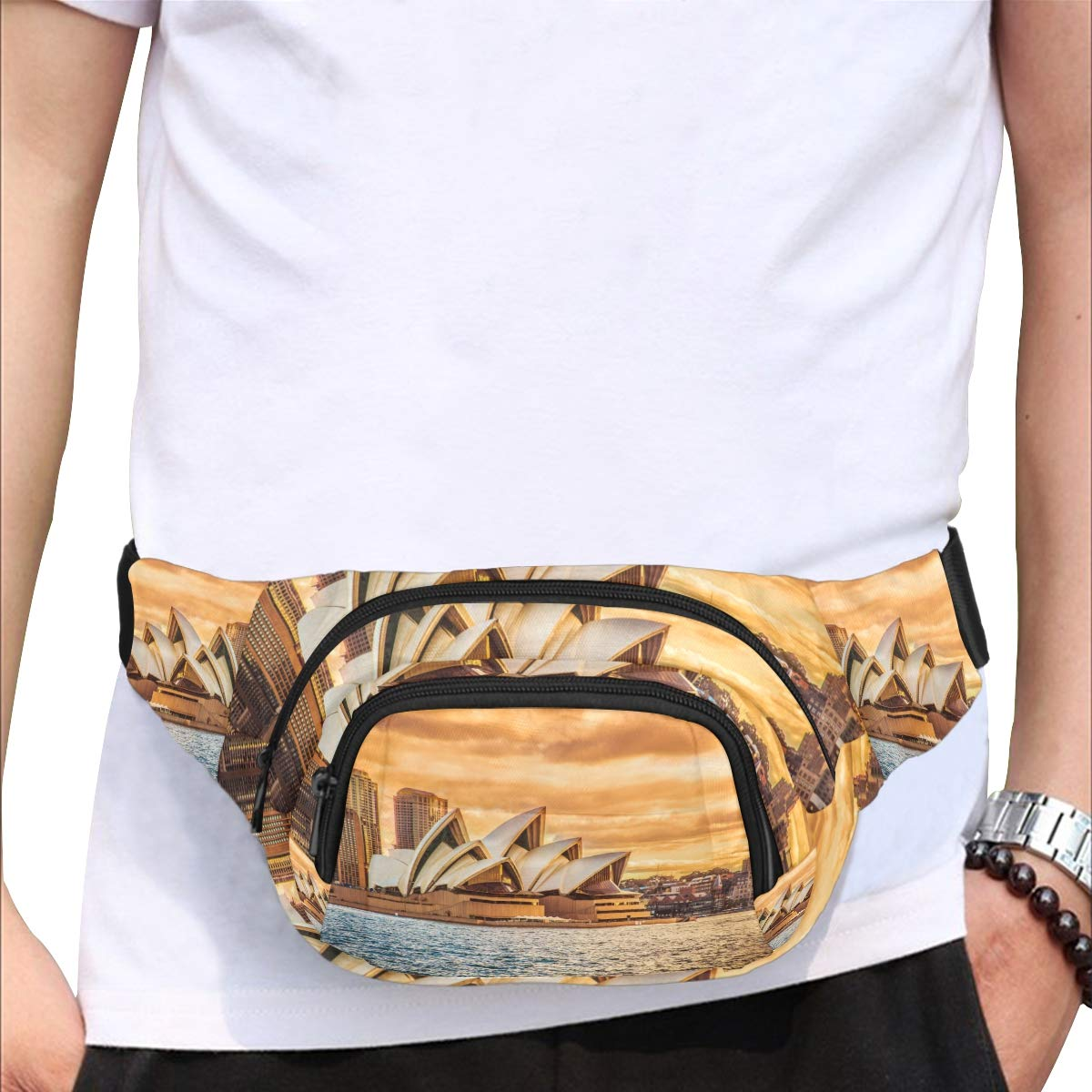 The Beautiful Sydney Opera House Fenny Packs Waist Bags Adjustable Belt Waterproof Nylon Travel Running Sport Vacation Party For Men Women Boys Girls Kids