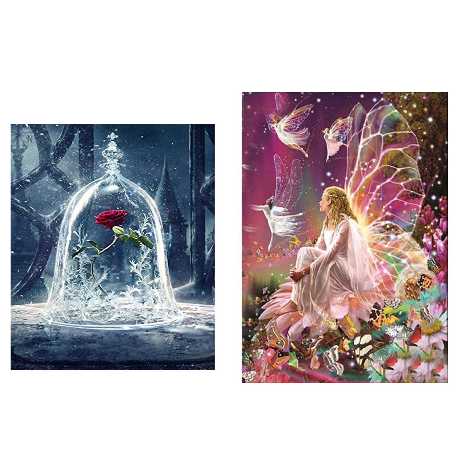 2 Pack DIY 5D Diamond Painting Art Full Drill Kits,Full Diamond Flower Queen Elf and Beauty and the Beast Rose 5D Diamond Art, Diamond Painting Kits DIY Art Craft Home Wall Decoration (30*30cm&30*40cm) KRUCE