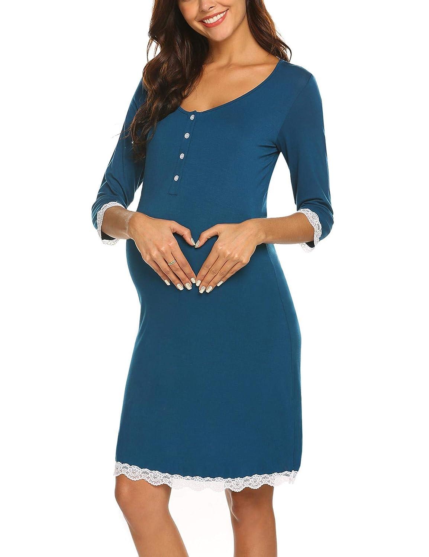 MAXMODA Camis/ón Maternidad Lactancia Pijama Mujer Embarazada Ropa para Dormir Premam/á Encaje S-XXL