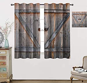 Country Decor Grommet Blackout Curtain, Old Wooden Garage Door American Style Decor Vintage Rustic Theme Home Antiqued Look Window Covering for Kitchen, Each Panel 31.5