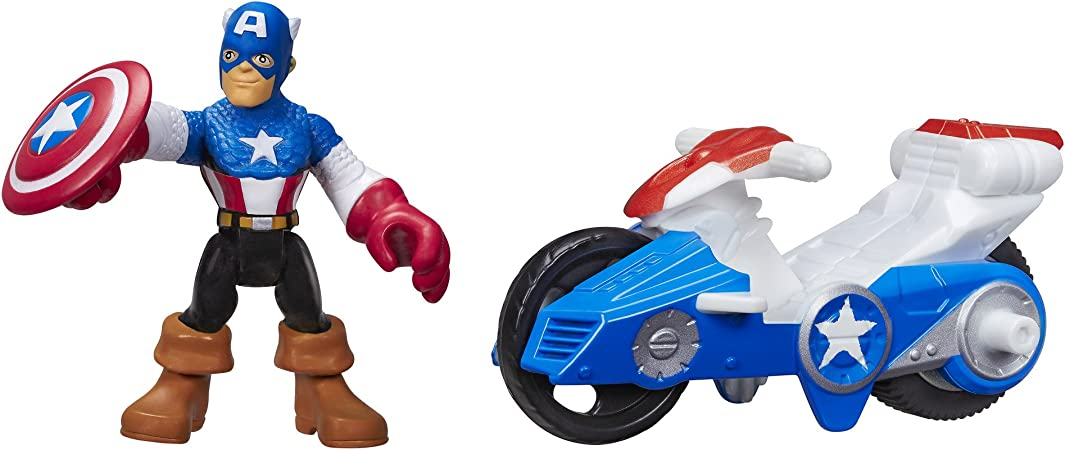 Playskool Marvel Super Heroes Adventures Captain American Power Up Racer Figure