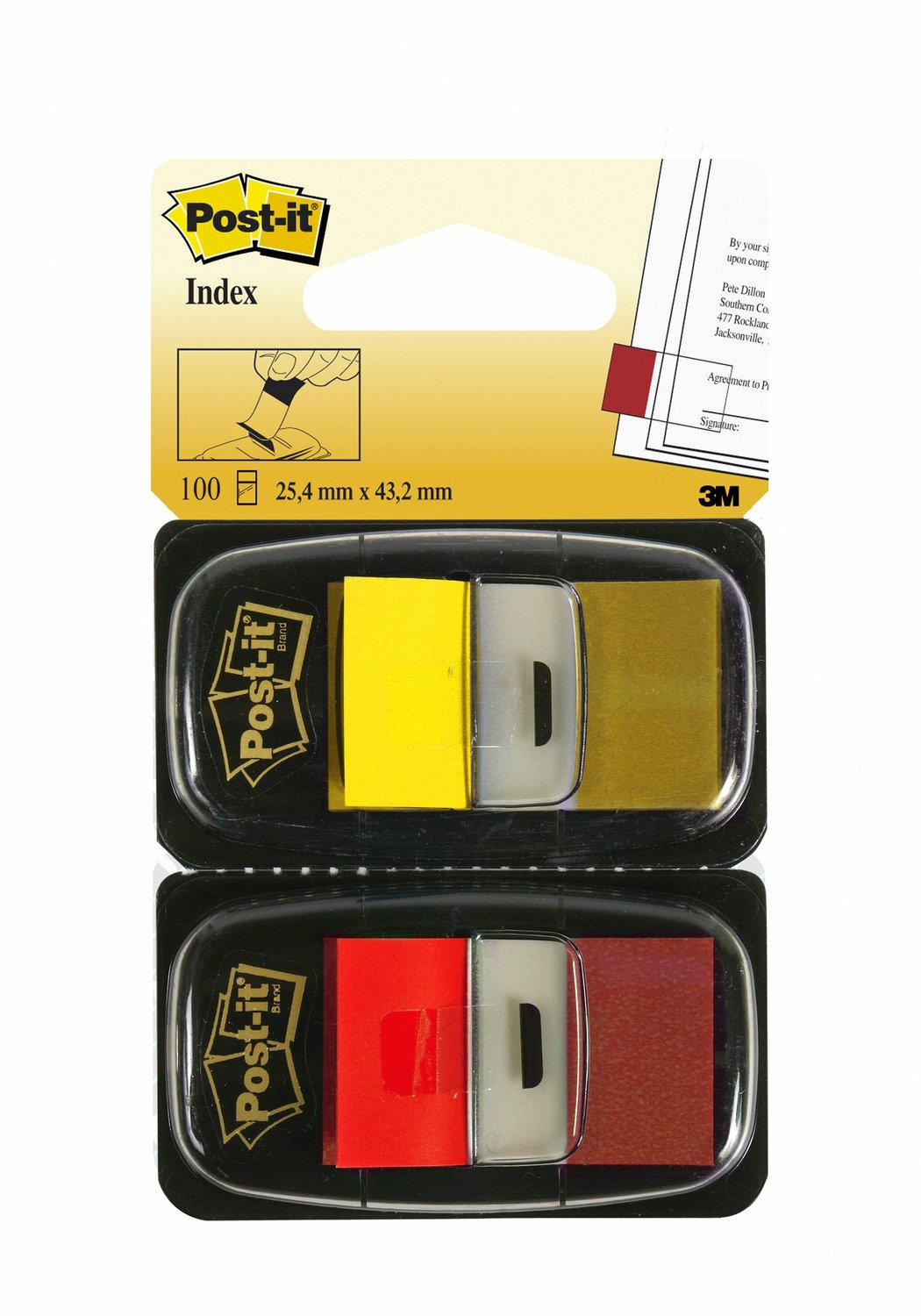 Post-it Standard Page Flags in Dispenser  1in Wide, Red and Yellow 100 Flags, 680-R/Y2