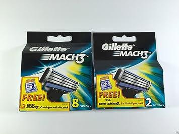 Gillette Mach3 – Pack de 8 + 2=10 cartuchos – Cuchillas de ...