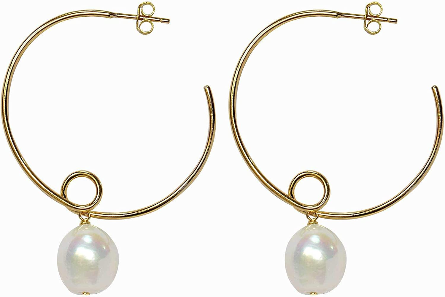 Pearl Gold Hoop Earrings Mothers Day gift for her