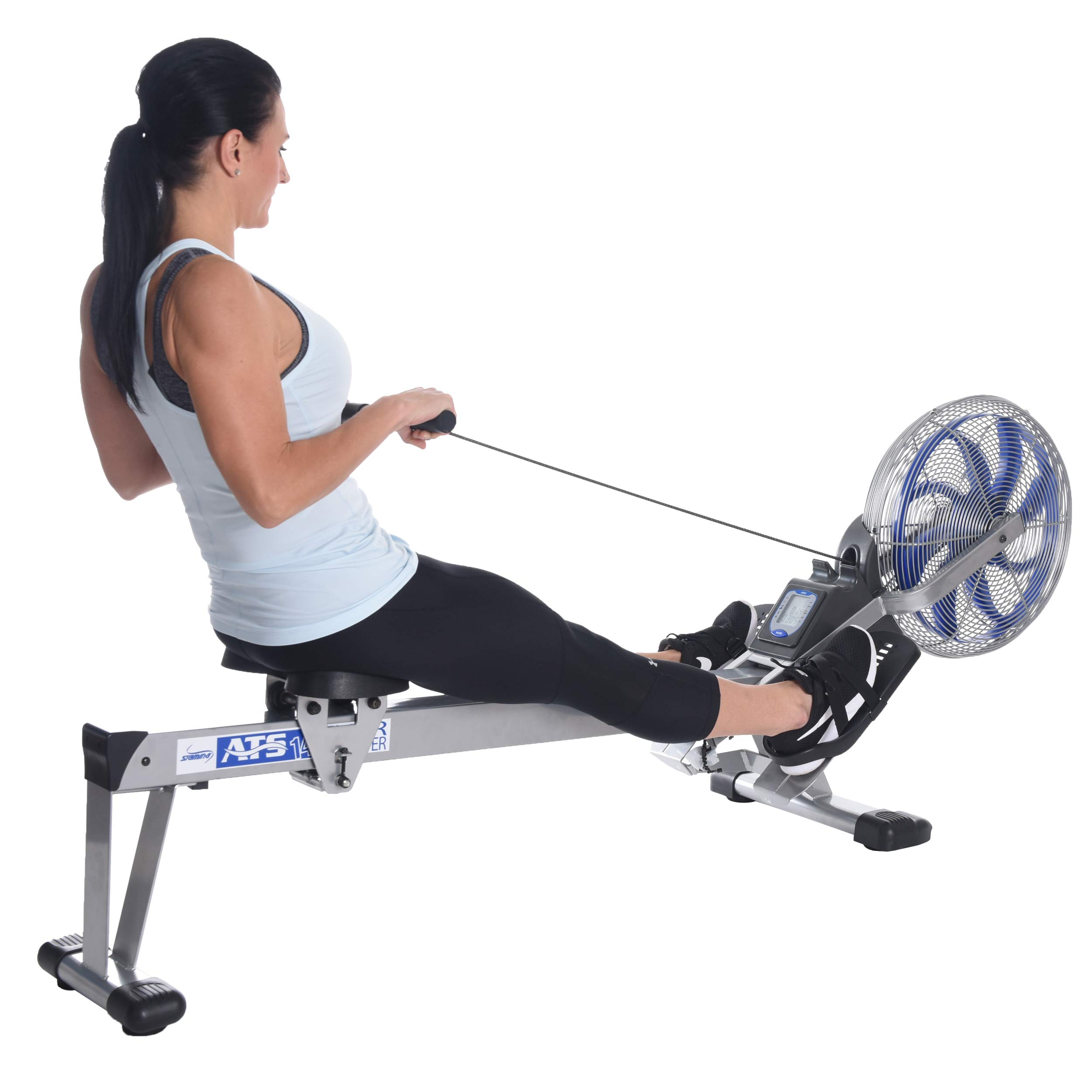 Stamina 35-1405 ATS Air Rower 1405 Rowing Machine, Air Resistance, LCD Fitness Monitor, Folding and Built-in Wheels, Chrome/Blue/Black by Stamina (Image #4)