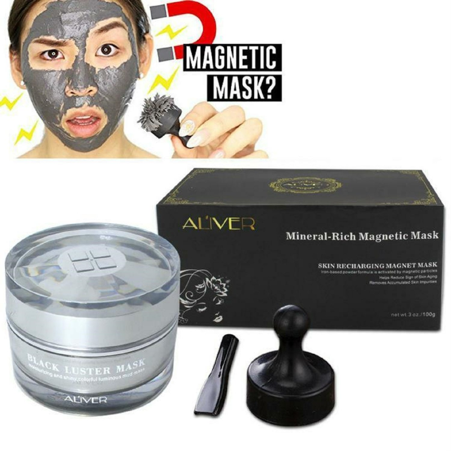 Aliver Black Luster Magnetic Mask Mineral-Rich Magnetic Face Mask Pore Cleansing Removes Skin Impurities 50ml