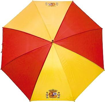 Paraguas de la Bandera Española GRANDES-ANTIVENTISCA-126 CM- con Escudo ESPAÑA-Tela Impermeable -Colores Vistosos- Escudo de España- Paraguas de Golf: Amazon.es: Equipaje