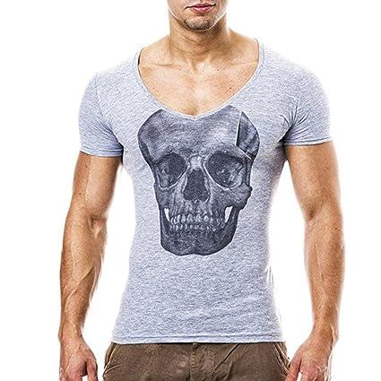 Camisetas Cráneo Impreso Manga Corta para Hombres, LILICAT® 🍀 Blusa Tops Delgada del Verano