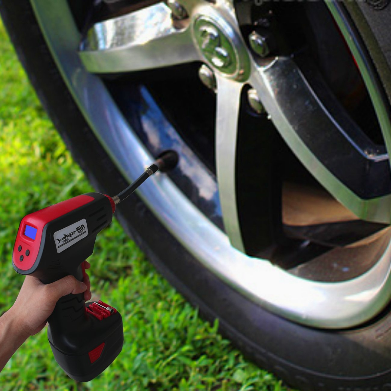 Amazon.com: Tisnec Pro Air Compressor, Cordless Portable Compressor Electric Inflator Portable Hand Held Pump with Digital LCD: Home Improvement