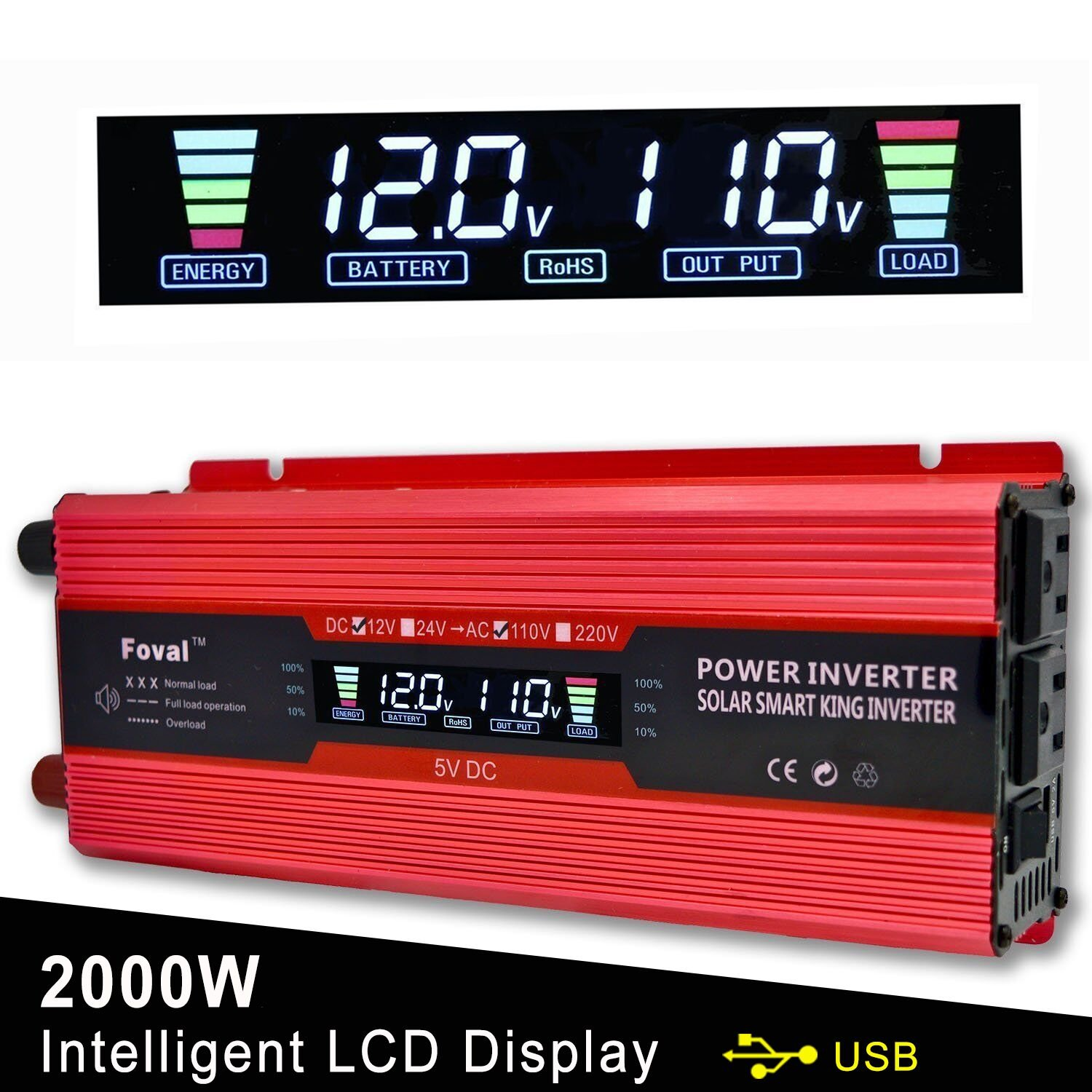 Lvyuan 1000W/2000W Power Inverter Dual AC Outlets and Dual USB Charging Ports DC to AC inverter 12V to 110V Car Converter DC 12V inverter With Digital LCD Display by Lvyuan (Image #1)