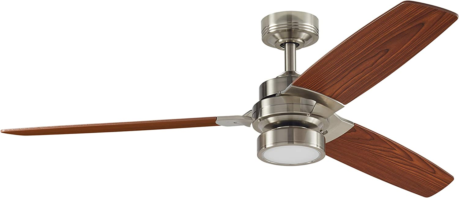 Rivet Modern Remote Control AC Motor Ceiling Flush Mount Fan with 18W LED Light – 52 x 52 x 7.6 Inches, Brushed Nickel with Maple Finish Blades