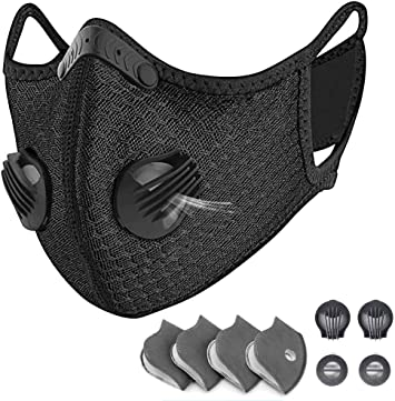 Sports Protective M with Activated Carbon Filter and Valves//for Motorcycle Cycling Running Outdoor Activities(1 Black 8 Additional Filters) HONYAO Reusable Dust Face M Earloop Dust M