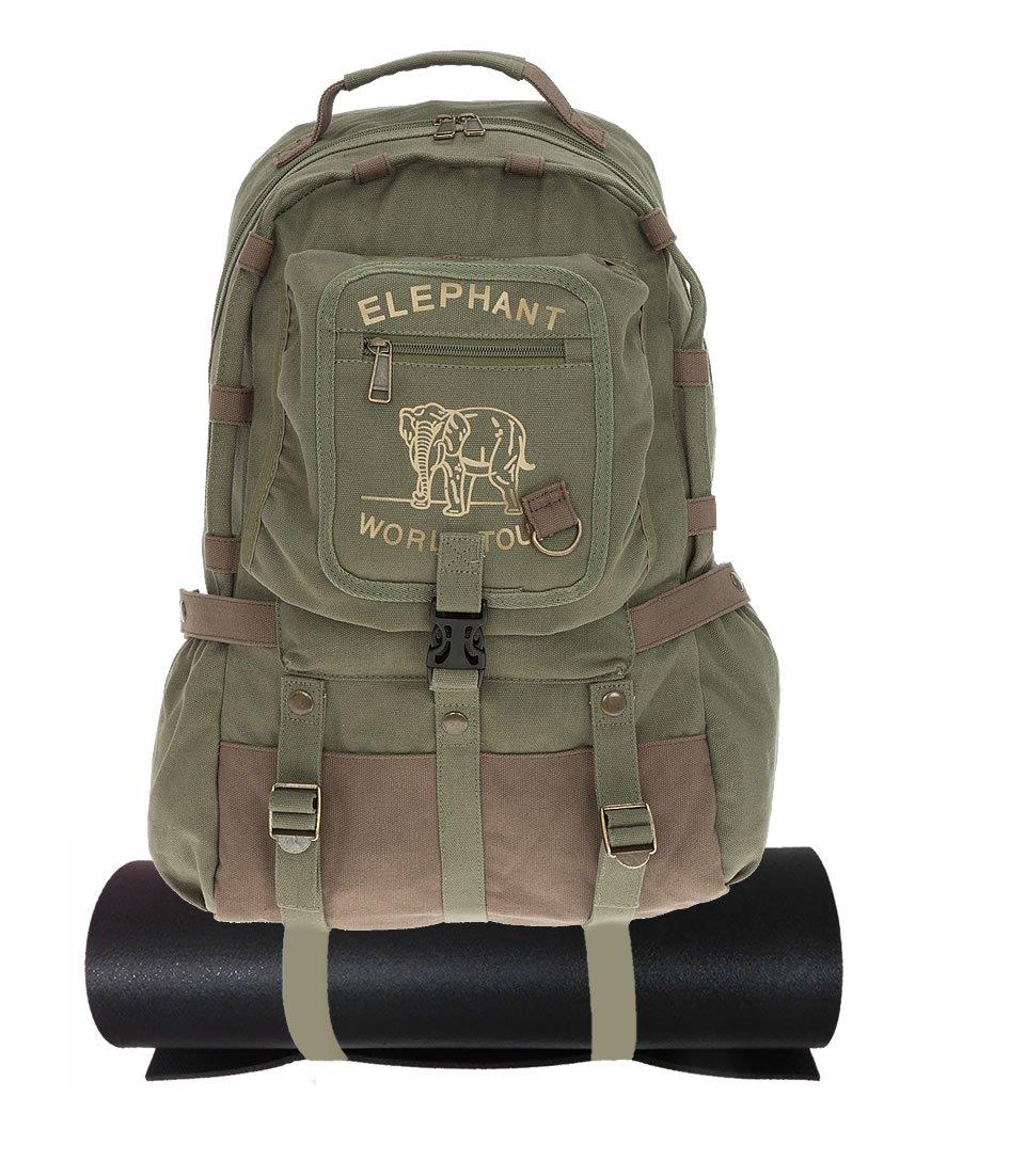 e9741bc653432 ELEPHANT Rucksack Vintage Canvasrucksack 598 + Trinkflasche (Oliv)   Amazon.de  Koffer