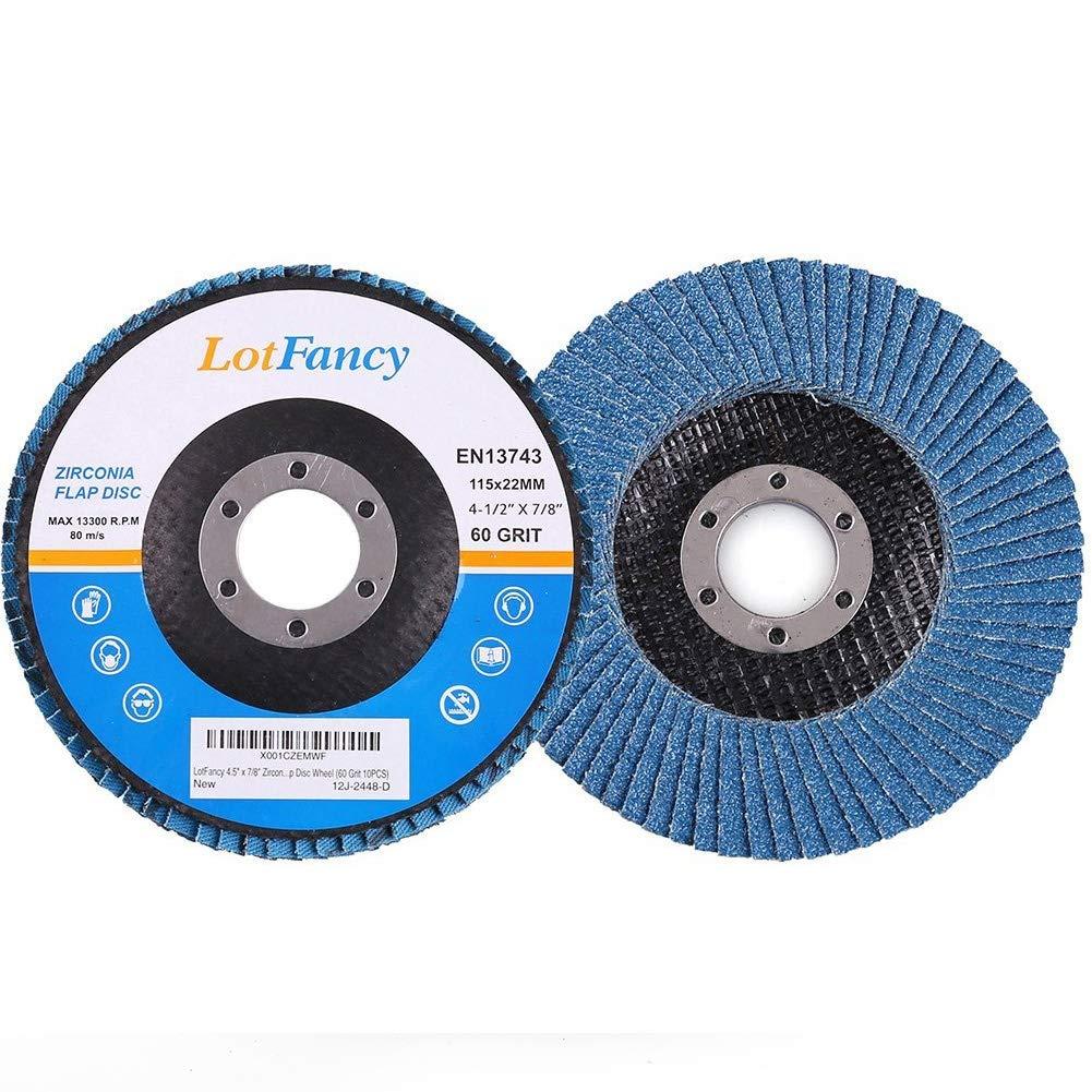 Zirconia Alumina Abrasive 10PCS by LotFancy 80 Grit Flap Discs 4.5 Inch Sanding Grinding Wheels