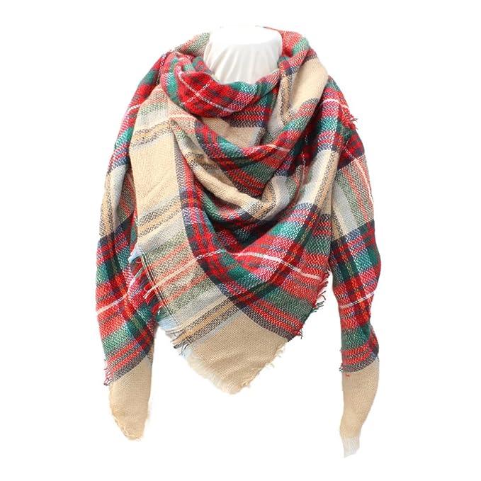 Hibote Grandi Scozzese Sciarpa Donna Inverno Tartan Plaid Oversize morbida  Grande sciarpa calda coperta scialle  Amazon.it  Abbigliamento f4b62ba43a23