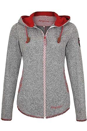 zuverlässigste Sonderpreis für Für Original auswählen Almgwand Damen Damen Trachten-Jacke mit Kapuze grau rot ...