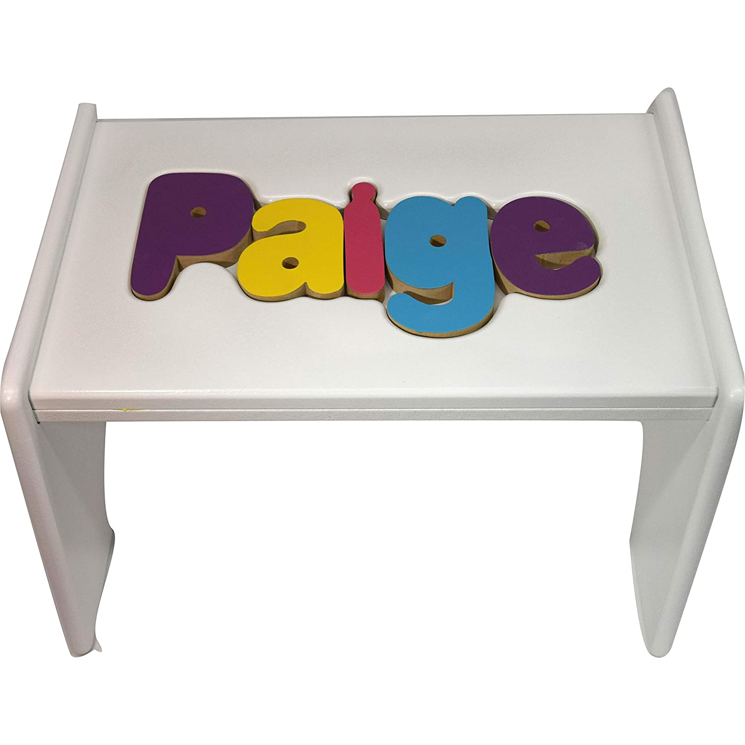 babykidsbargains Personalized Wooden Puzzle Stools- Stool Color: White, Letter Color: Pastel, 9-12 Letters Baby Kids Bargains