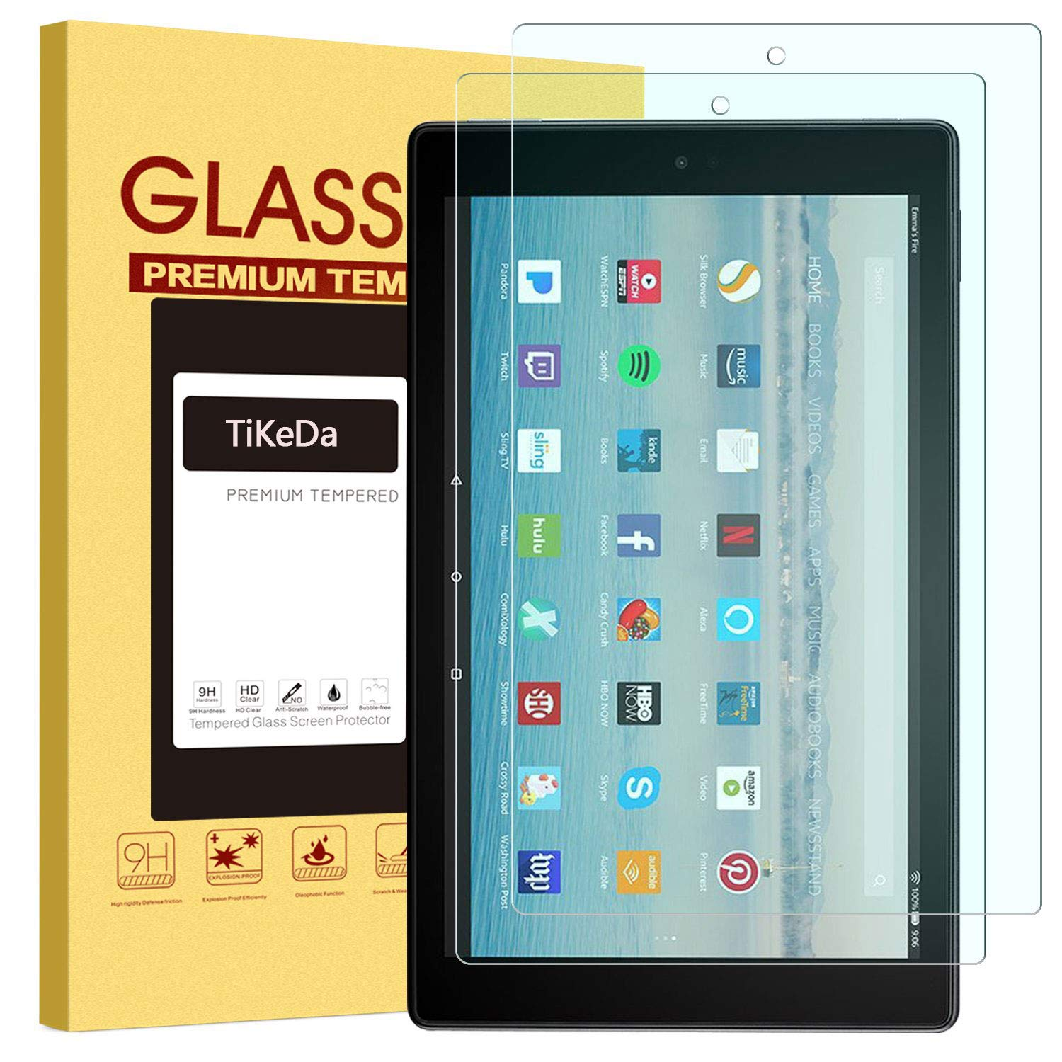 [2 Pack] All-New Fire HD 10 Screen Protector (7th/5th Generation 2017/2015 Release)- Fire HD 10 Kids Edition Hard Glass Screen Protector with Anti-Scratch Anti-Fingerprint