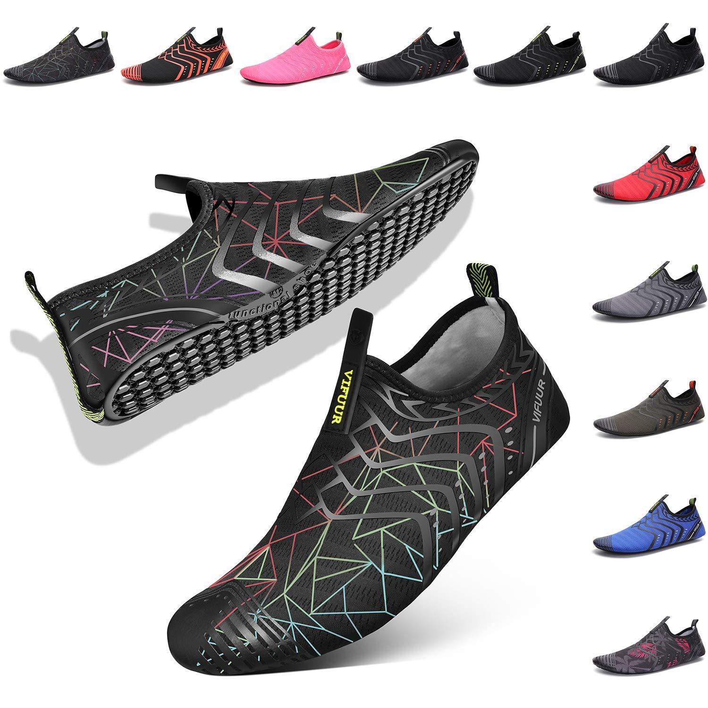 VIFUUR Chaussures Hommes Femmes Eau Barefoot Aqua de Yoga /à s/échage Rapide Slip-on pour Piscine Plage Surf