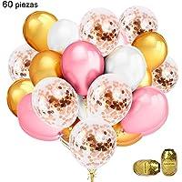 Eokeanon Globos de latex de oro rosa, globos de cumpleaños, 60 piezas de decoracion fiesta globos de 12 pulgadas con confeti Globos de y cinta de oro rosa Ideal para la fiesta de cumpleaños, compromiso, boda, despedida de soltera, decoración para baby shower