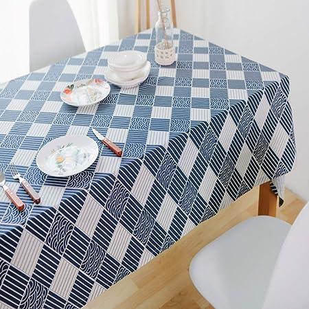 CFWL - Mantel de Lino de algodón Rectangular de Tela para la casa Navy, 100 x 145 cm, Mantel Blanco para Restaurante, Mantel Blanco Rectangular de algodón: Amazon.es: Hogar