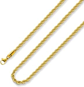 18k Real Gold Plated Rope Chain 2.5-5MM Stainless Steel Mens Chain Necklace Women Chains 16-36 Inches