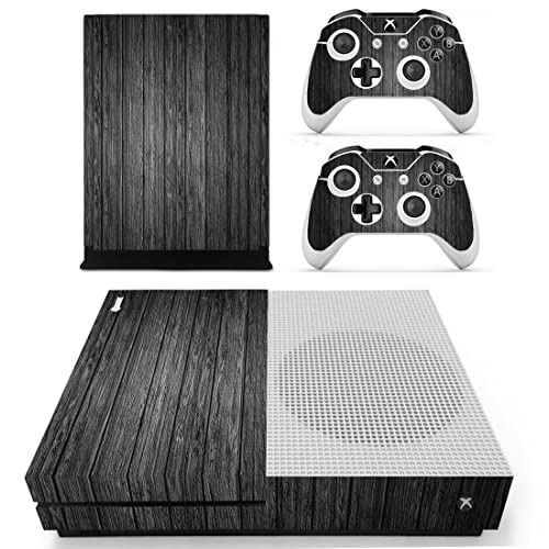 Pandaren® full skin sticker faceplates for Xbox One S console x 1 and controller x 2 (black wood) [Instruction in image lists] Not compatible for OLD version Xbox One