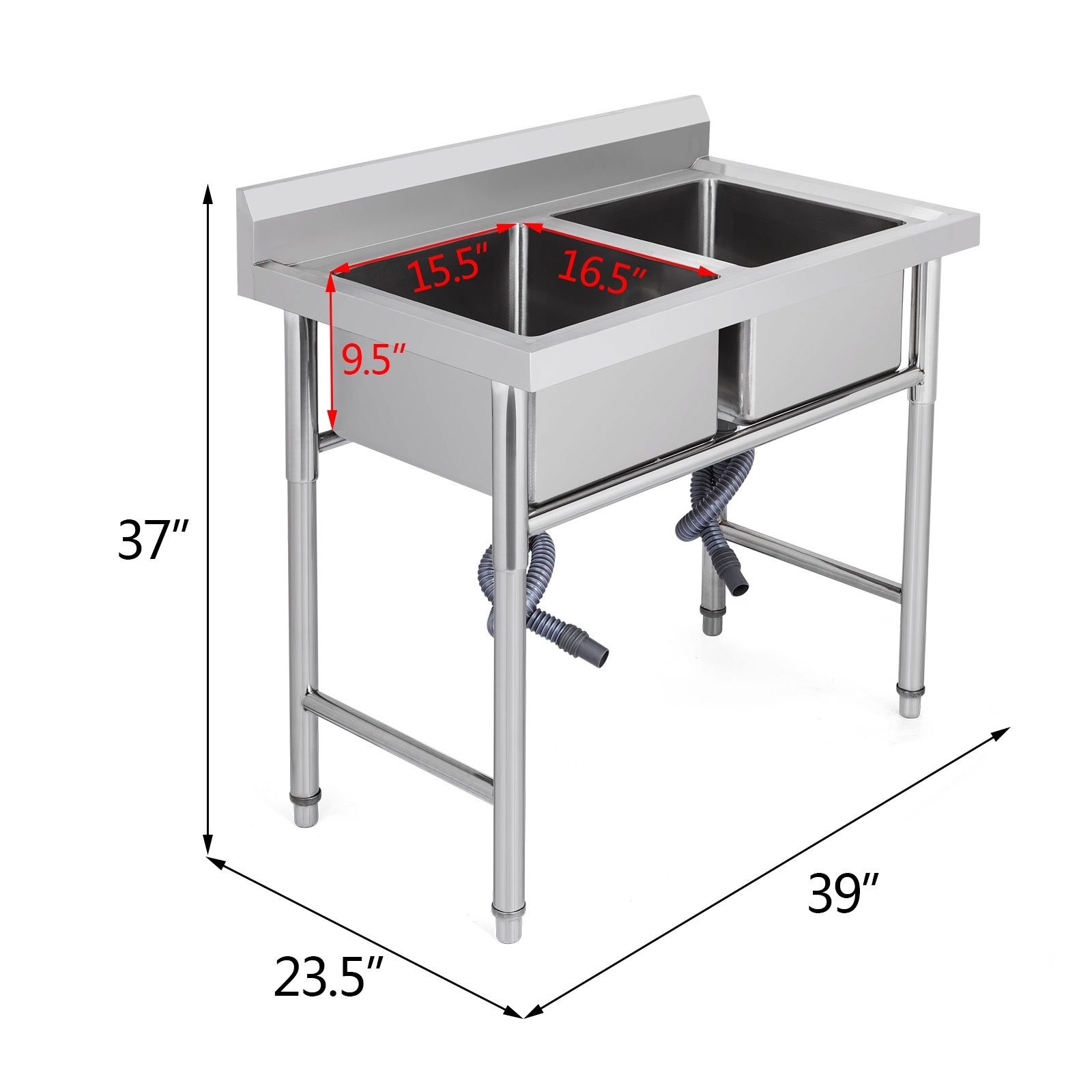 "Mophorn 2 Compartment Stainless Steel Bar Sink 15.5"" x 16.5""Bowl Size Handmade Underbar Sink for bar, kitchen restaurant by Mophorn (Image #2)"