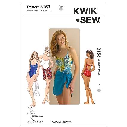Amazon.com: Kwik Sew K3153 Swimsuit and Wrap Sewing Pattern, Size XS ...
