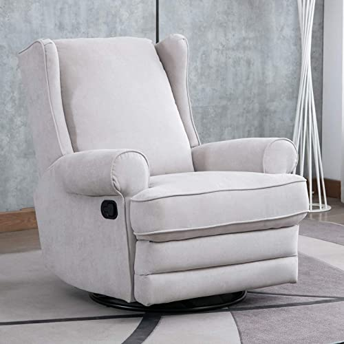 ANJ Swivel Rocker Recliner Chair – Reclining Chair Manual, Single Modern Sofa Home Theater Seating for Living Room Buff