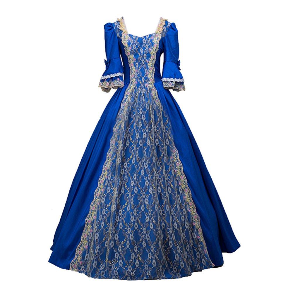 30caf179fb78 ROLECOS Womens Royal Vintage Medieval Dresses Lady Satin Gothic Masquerade  Dress Blue