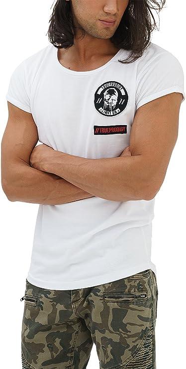 TALLA XL. trueprodigy Casual Hombre Marca Camiseta con impresión Estampada Ropa Retro Vintage Rock Vestir Moda Cuello Redondo Manga Corta Slim Fit Designer Fashion T-Shirt